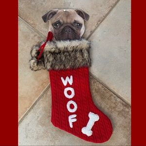 Woof Dog Red & White Stocking New with insert